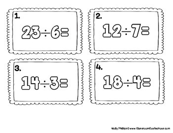 4th Grade Math: Division Task Cards  (Two Digits by One): Math Centers: Workshop