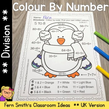 Colour By Numbers Winter Math Division - UK Version