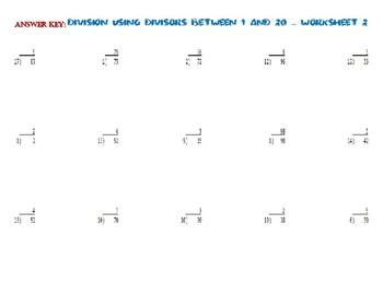 Division USING DIVISORS BETWEEN 1 AND 20 – Worksheet 2