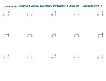 Division USING DIVISORS BETWEEN 1 AND 20 – Worksheet 3