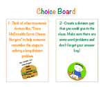 Division Unit Choice Board Activities