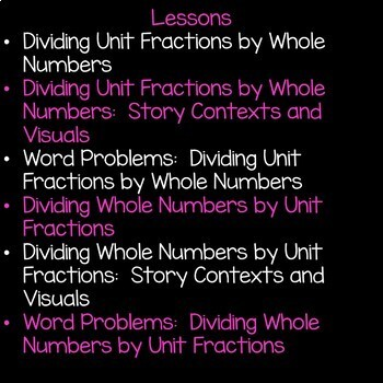Division Unit Fractions and Whole Numbers Math Unit 5th Grade Common Core