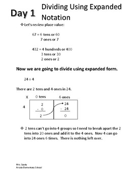 Division Using Expanded Notation Interactive Notebook Units