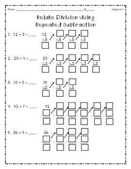 division using repeated subtraction by catherine arnold tpt. Black Bedroom Furniture Sets. Home Design Ideas