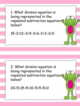 Division Using Repeated Subtraction Task Cards