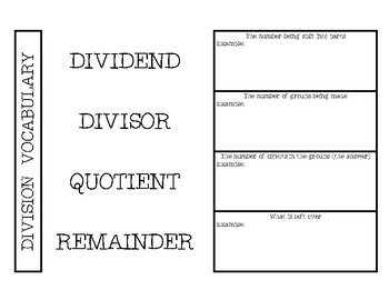 Division Vocabulary Activity