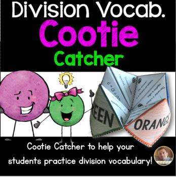 Division Vocabulary Cootie Catcher/Fortune Teller- Grades 3-4