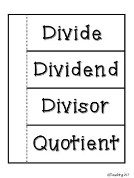 Division Vocabulary Flip Up