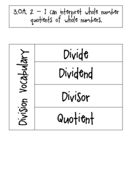 Division Vocabulary Interactive Notebooking