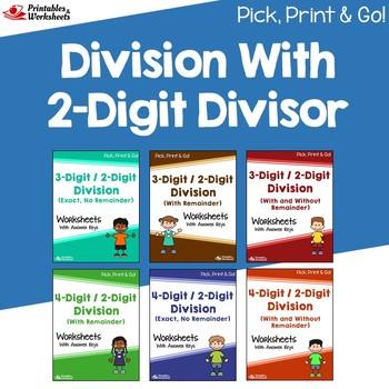 Division With 2 Digit Divisors Worksheets