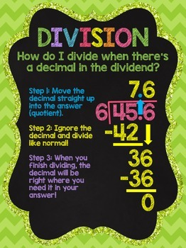 Division With Decimal Dividend: Chalkboard Style