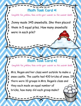 Division With No Remainders Word Problem Task Cards- Winter Themed- 3rd-5th