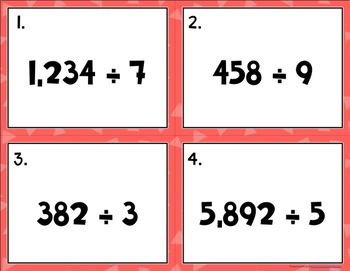 Division {With One Digit Divisors} Task Cards