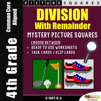 Long Division, 4th Grade Division With Remainder Mystery Pictures