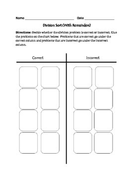 Division  (With Remainders): Cut, Sort, & Paste Activity