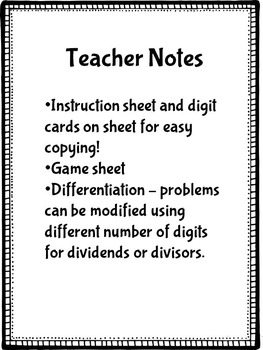 Long Division With Remainders Game -  No Prep!