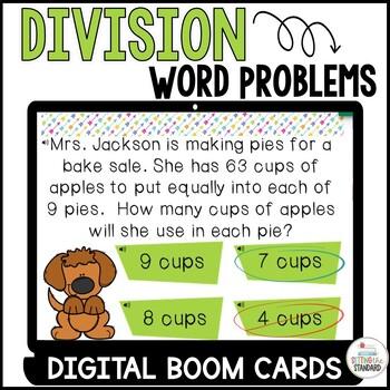 Division Word Problem Boom Cards Set 1