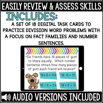 Division Word Problem Boom Cards Set 2
