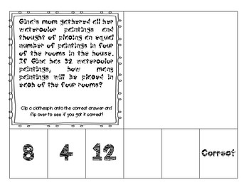 Division Word Problem Clip and Assess Cards