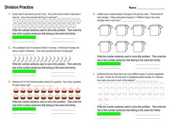 Division Word Problem Practice