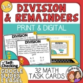 Division Task Cards Interpreting Remainders with Easel Act