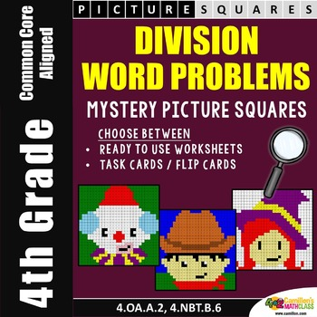 4th Grade Division Word Problems Mystery Pictures Worksheets