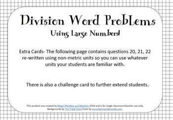 Division Word Problems. 32 Task Cards with Large Numbers