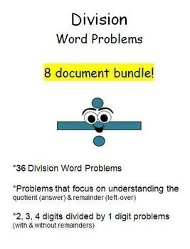 Division Word Problems!  8 Microsoft Word Documents with 36 word problems!