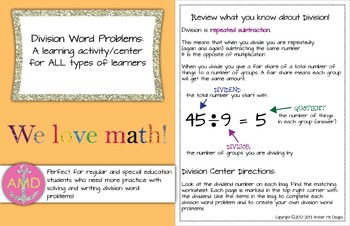 Division Word Problems Center & Multiplication Word Problems Center in ONE!