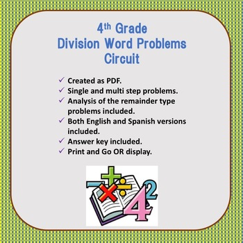 Division Word Problems Circuit- English and Spanish cards.