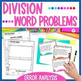 Division Word Problems Task Cards Error Analysis Math