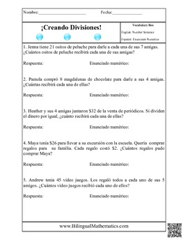 Division Word Problems - In ENGLISH and in SPANISH