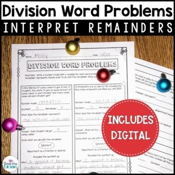 Division Word Problems Interpreting Remainders - 5th Grade