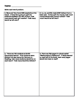 Division Word Problems (Interpreting the Remainder - 4th Grade ...
