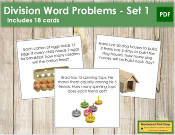 Division Word Problems - Level 1