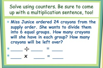 Division Word Problems Power Point - No Remainders