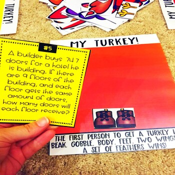 Division Word Problems No Remainders Thanksgiving Game