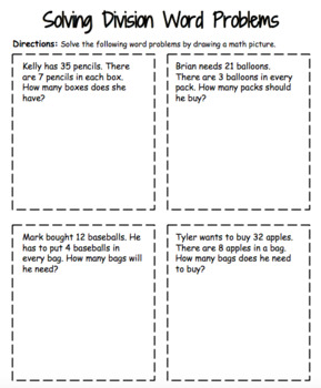 Division Word Problems Practice Handout