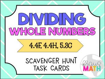 Division Word Problems: Scavenger Hunt Task Cards! (Interp