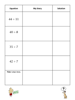 Division Word Problems - Student Choice Activity Promotes Writing
