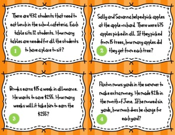 Division Word Problems Task Cards 5.NBT.6