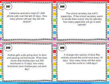 Division Word Problems Task Cards ENDLESS Bundle: Word Problems Division