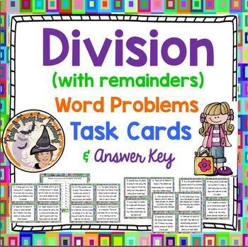 Division Word Problems Task Cards Stations Activity