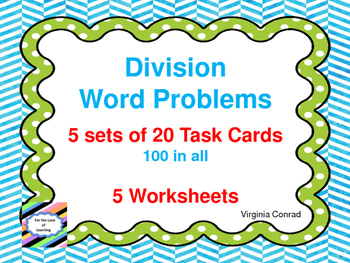 Division Word Problems:  Task Cards and Worksheets