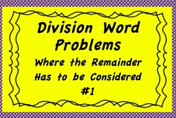 Division Word Problems Where the Remainder Has to Be Considered TN SPI.5.1.3