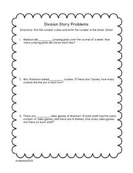 Division Word Problems with Number Cube Fun