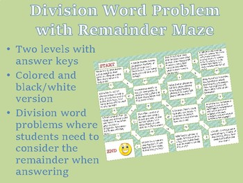 Division Word Problems with Remainder Maze