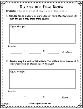 Division Word Problems within 50 Using Equal Groups Strategy (Easy)