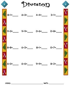 Division Worksheet - 1 x 1 CHRISTMAS THEME