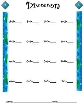 Division Worksheet - 1 x 1 WINTER THEME